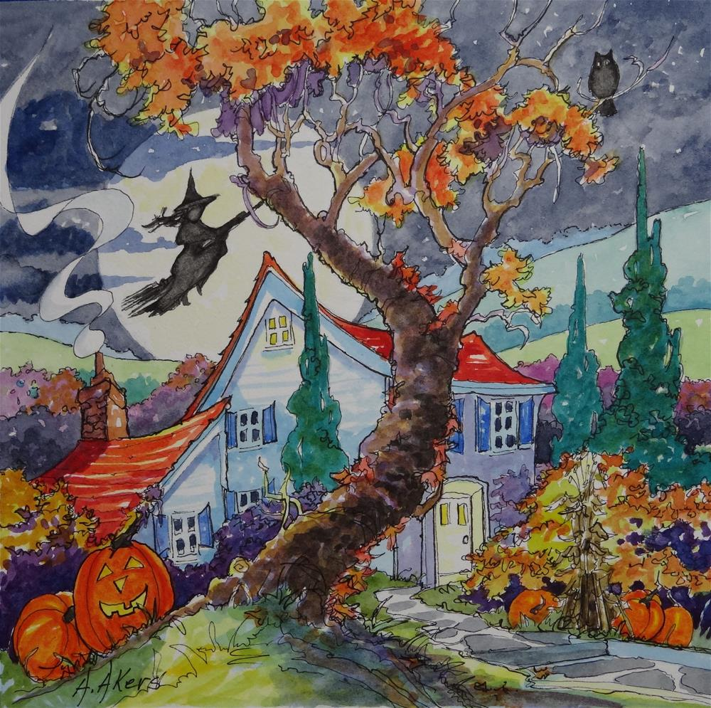"""Home Sweet Halloween Home Storybook Cottage Series"" original fine art by Alida Akers"