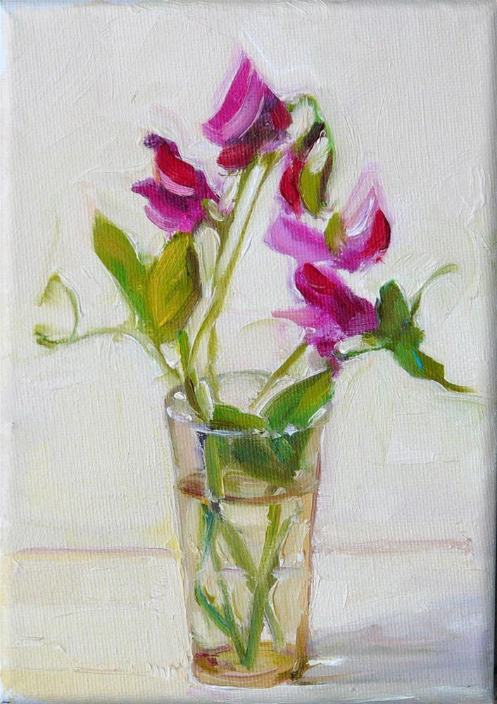"""Red Sweet Peas,still life,oil on canvas,7x5,price$175"" original fine art by Joy Olney"