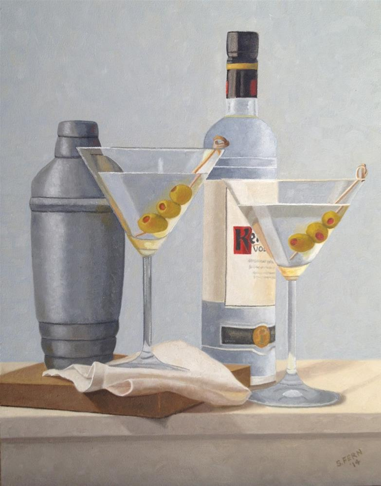 """Martini glasses (commission)"" original fine art by Susan Fern"