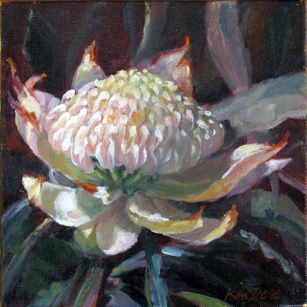 """""""White Waratah"""" original fine art by Myriam Kin-Yee"""
