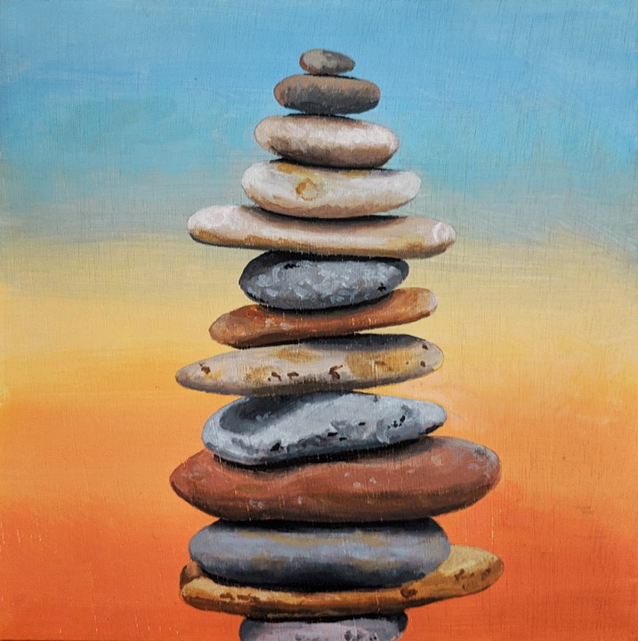 """13 Rocks"" original fine art by Ria Hills"