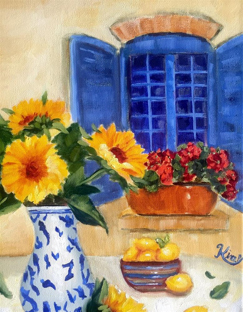 """Sunflowers By The Window with Blue Shutters"" original fine art by Kim Peterson"