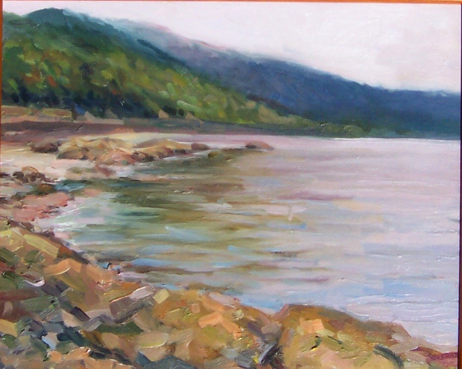 """Teddy Bear Cove View,seascape,oil on canvas,9x12,priceNFS"" original fine art by Joy Olney"