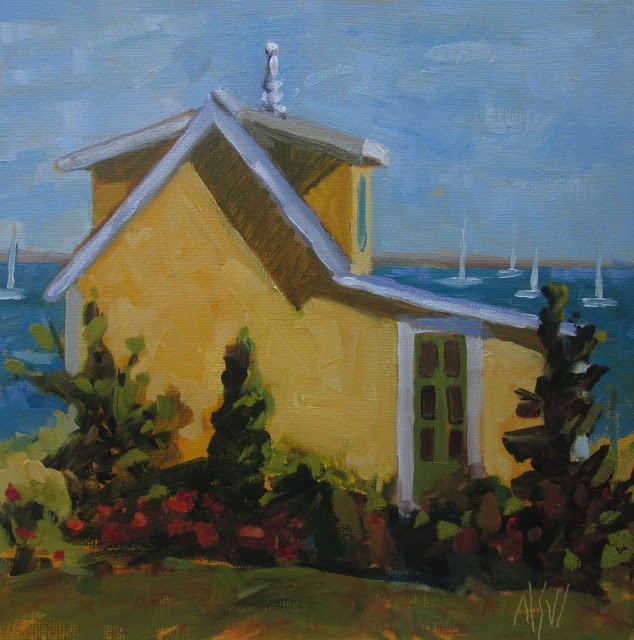 """""""Finial House Provincetown- 8x8   A beautifully renovated cottage in Provincetown"""" original fine art by Mary Sheehan Winn"""