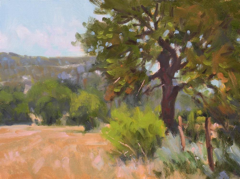 """""""Oak on the Fence Line"""" original fine art by David Forks"""