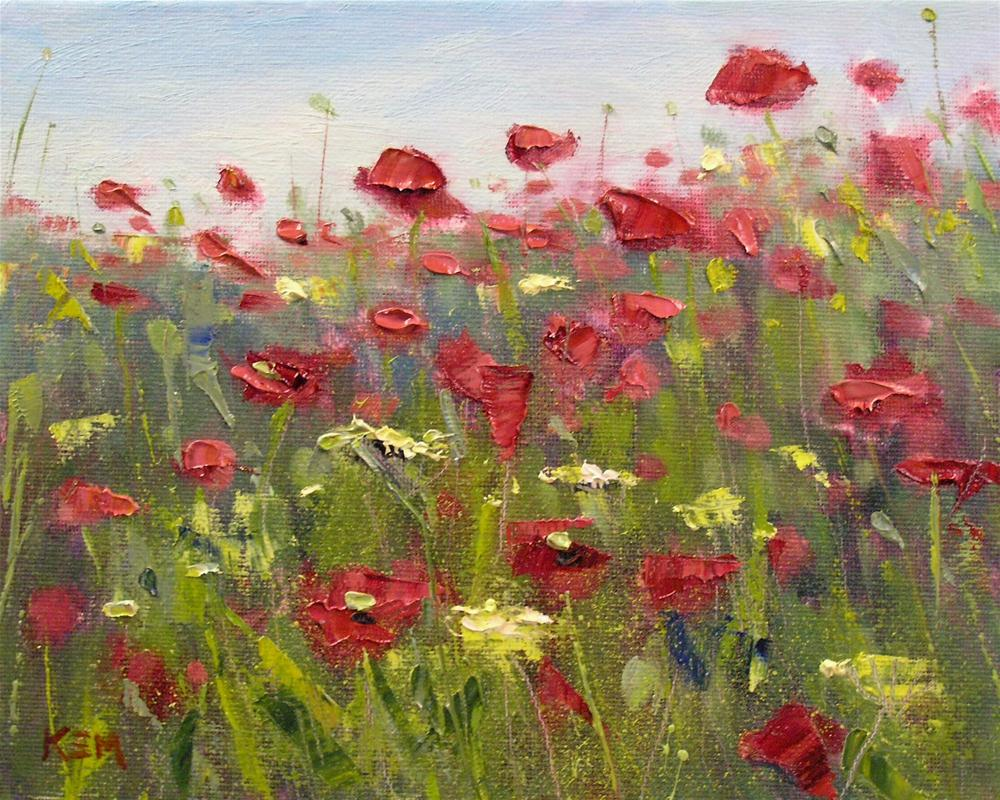 """Among the Poppies"" original fine art by Karen Margulis"