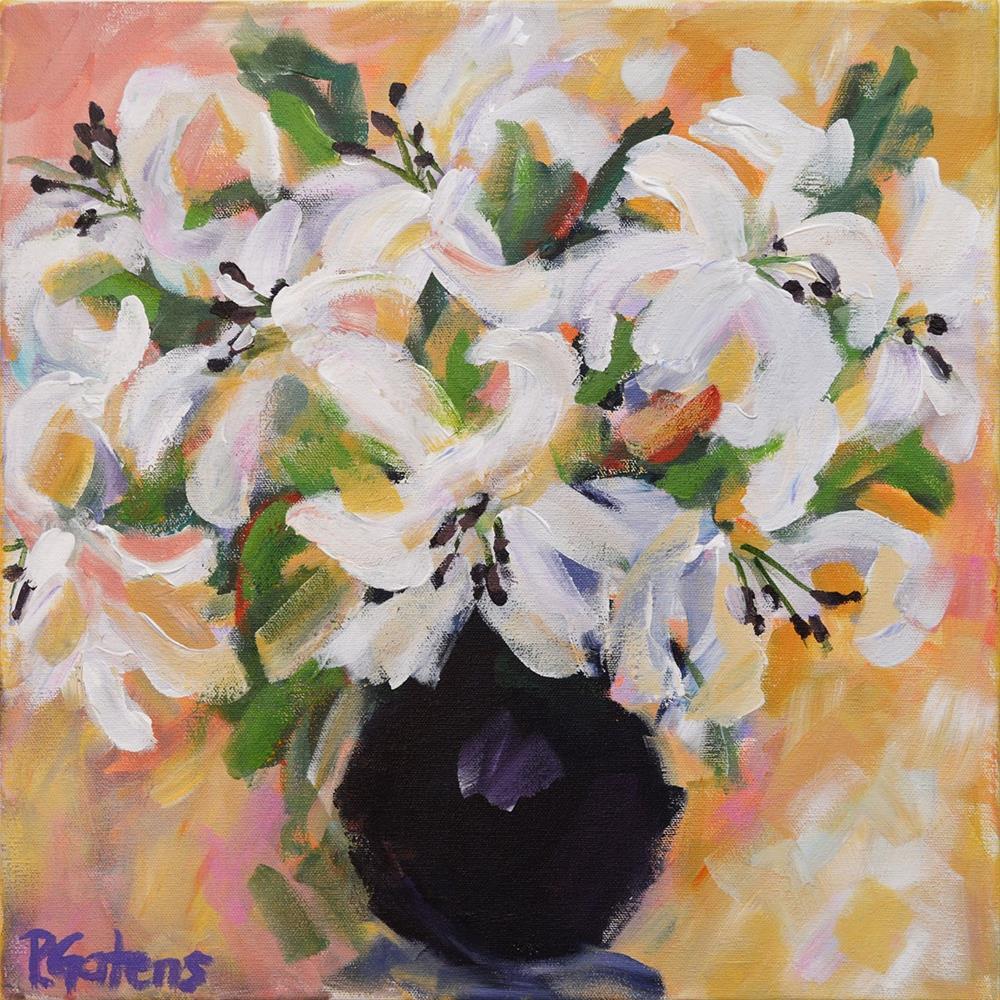 """White Lilies"" original fine art by Pamela Gatens"