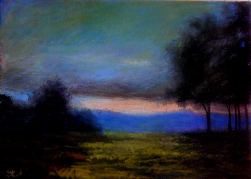 """Sunset and Trees"" original fine art by Bob Kimball"