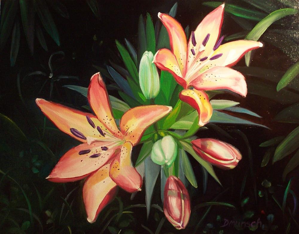 """""""Tootie Fruitie Lilies"""" original fine art by Donna Munsch"""