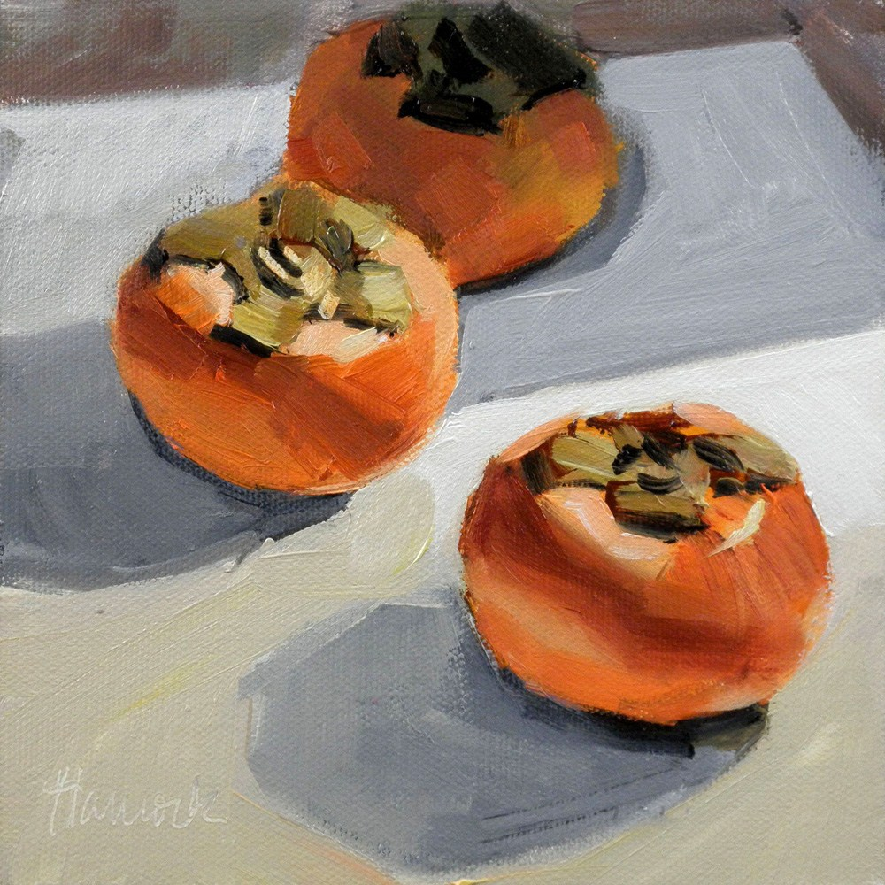 """Three Persimmons on White"" original fine art by Gretchen Hancock"