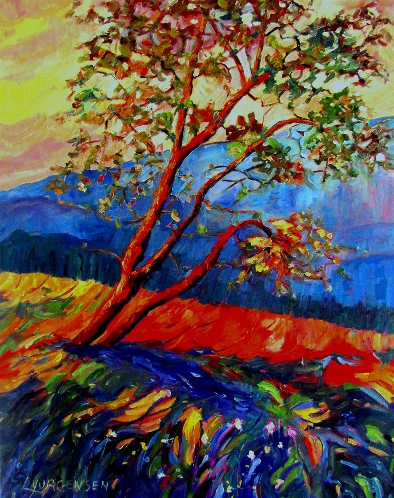 """30 x 24 inch oil Arbutus on the Hill"" original fine art by Linda Yurgensen"