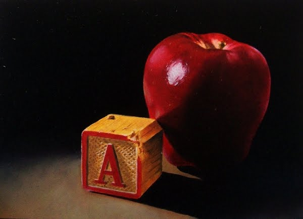 """""""A is for Red Delicious (Apple...:-)"""" original fine art by Jacqueline Gnott, TWSA, WHS"""