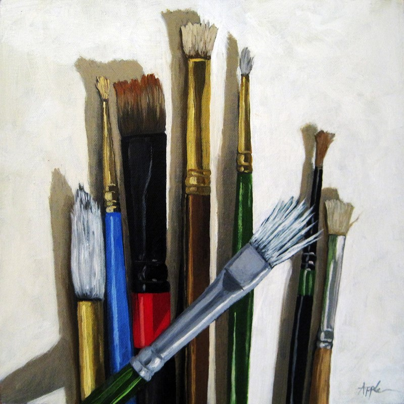 """""""Tools of the Trade Artist Brushes still life oil painting"""" original fine art by Linda Apple"""