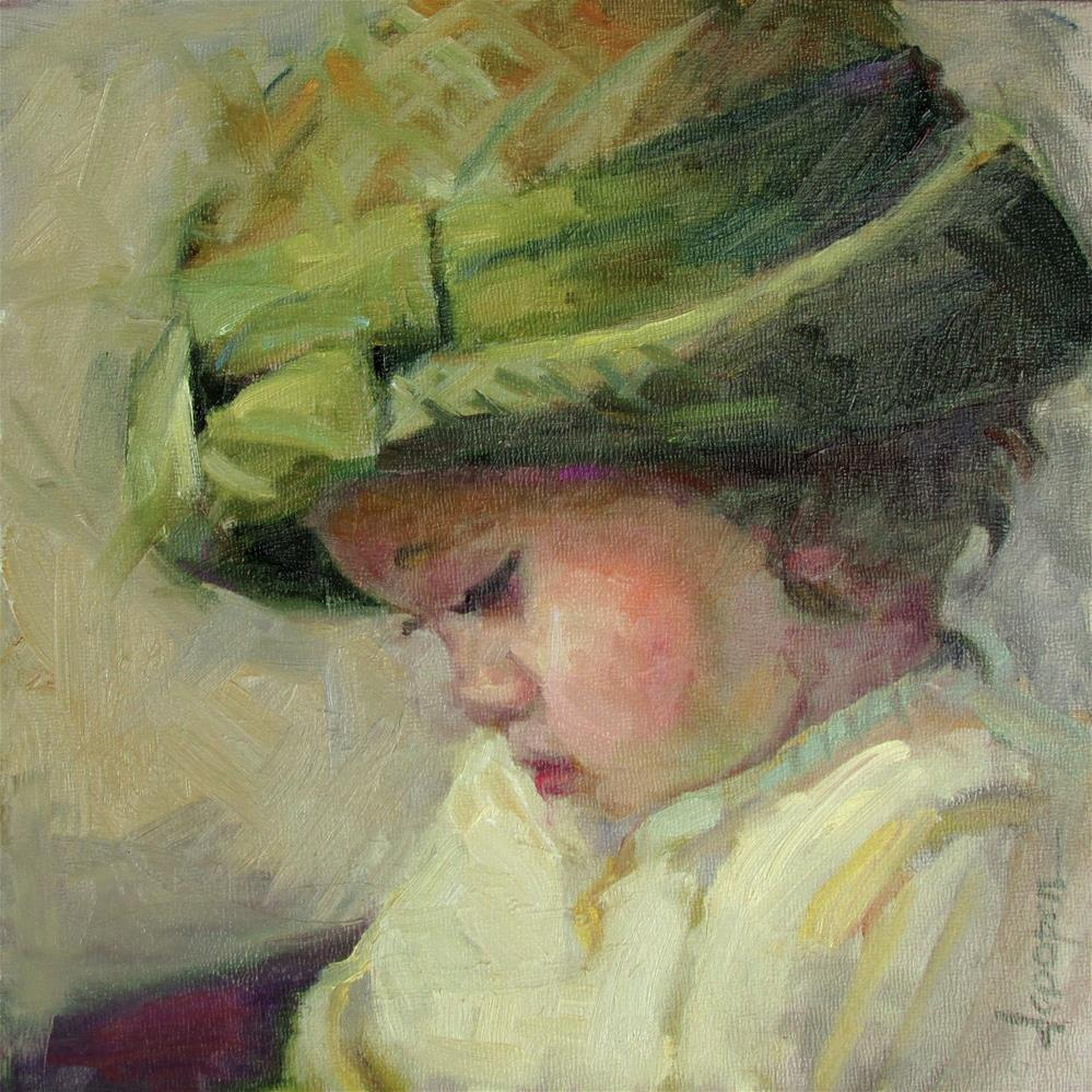 """Her Green Hat"" original fine art by Dana Cooper"
