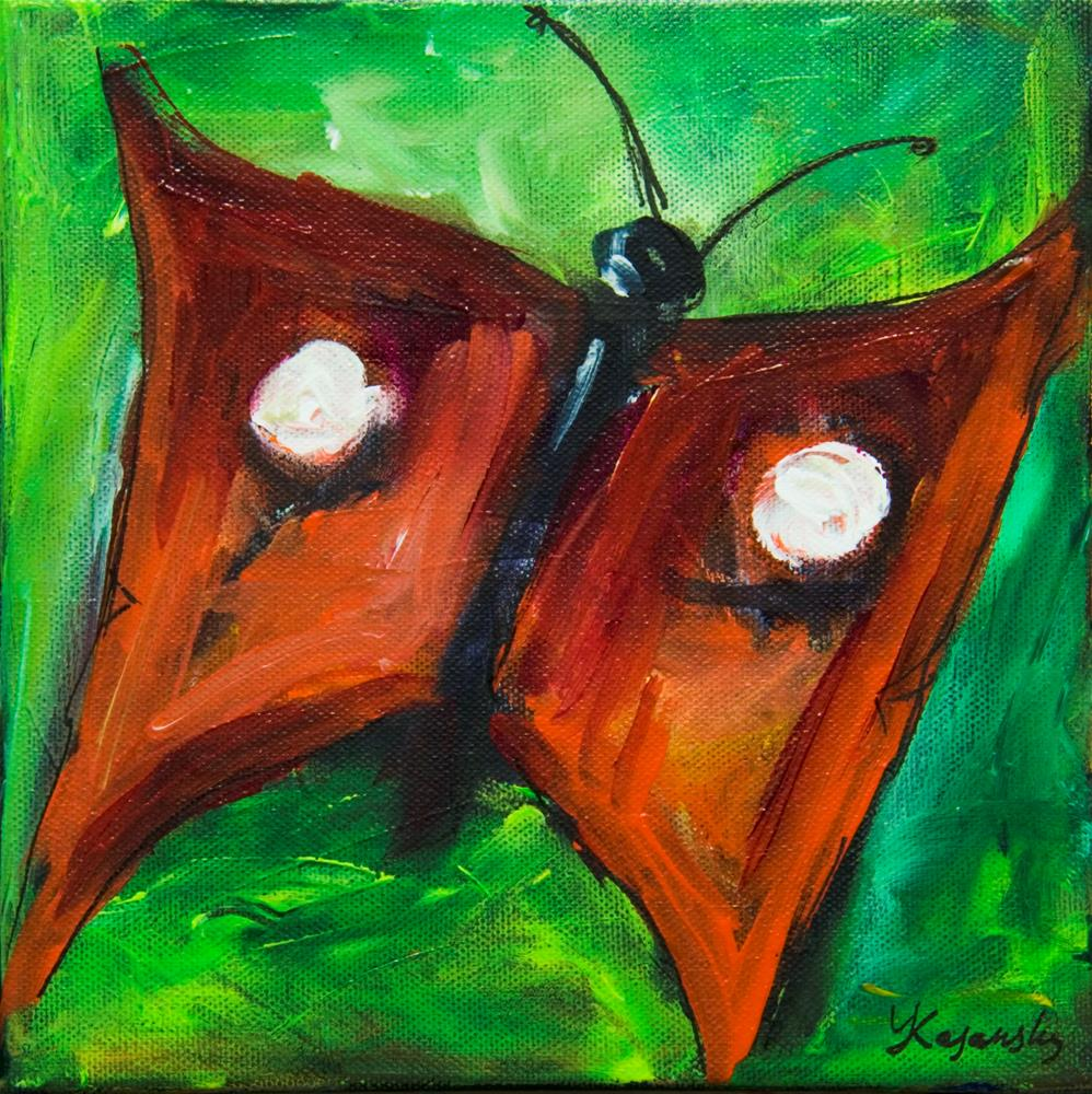 """Red Butterfly"" original fine art by Yulia Kazansky"