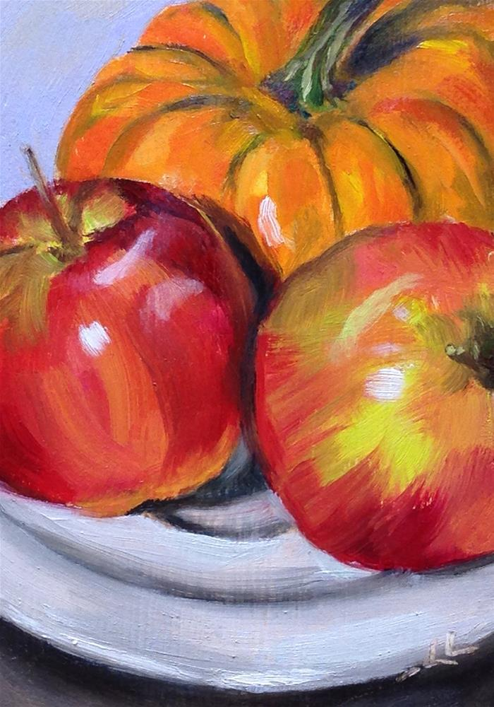 """Apples and Pumpkin on a Saucer"" original fine art by Linda Lowery"