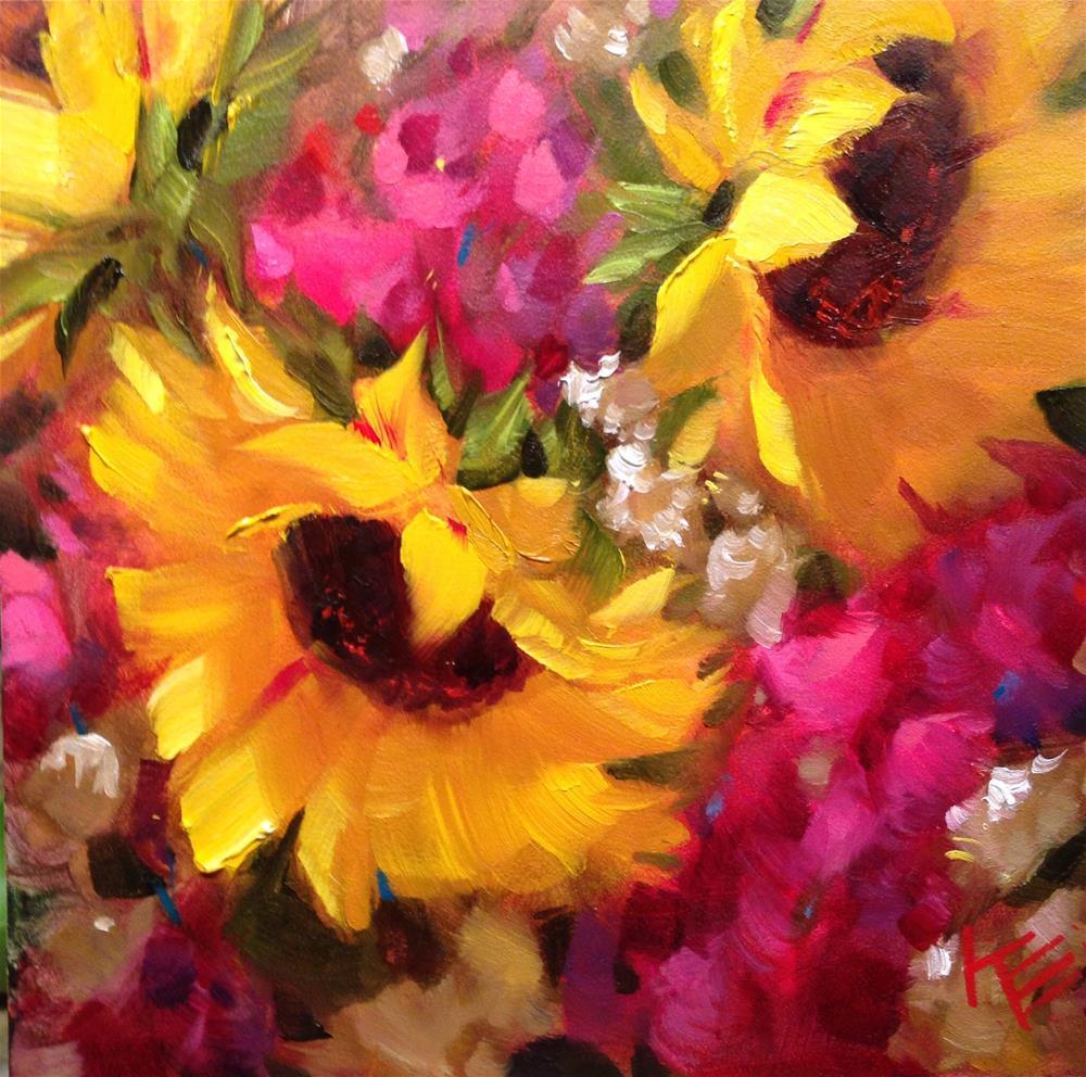 """Sunflowers & Stock II"" original fine art by Krista Eaton"
