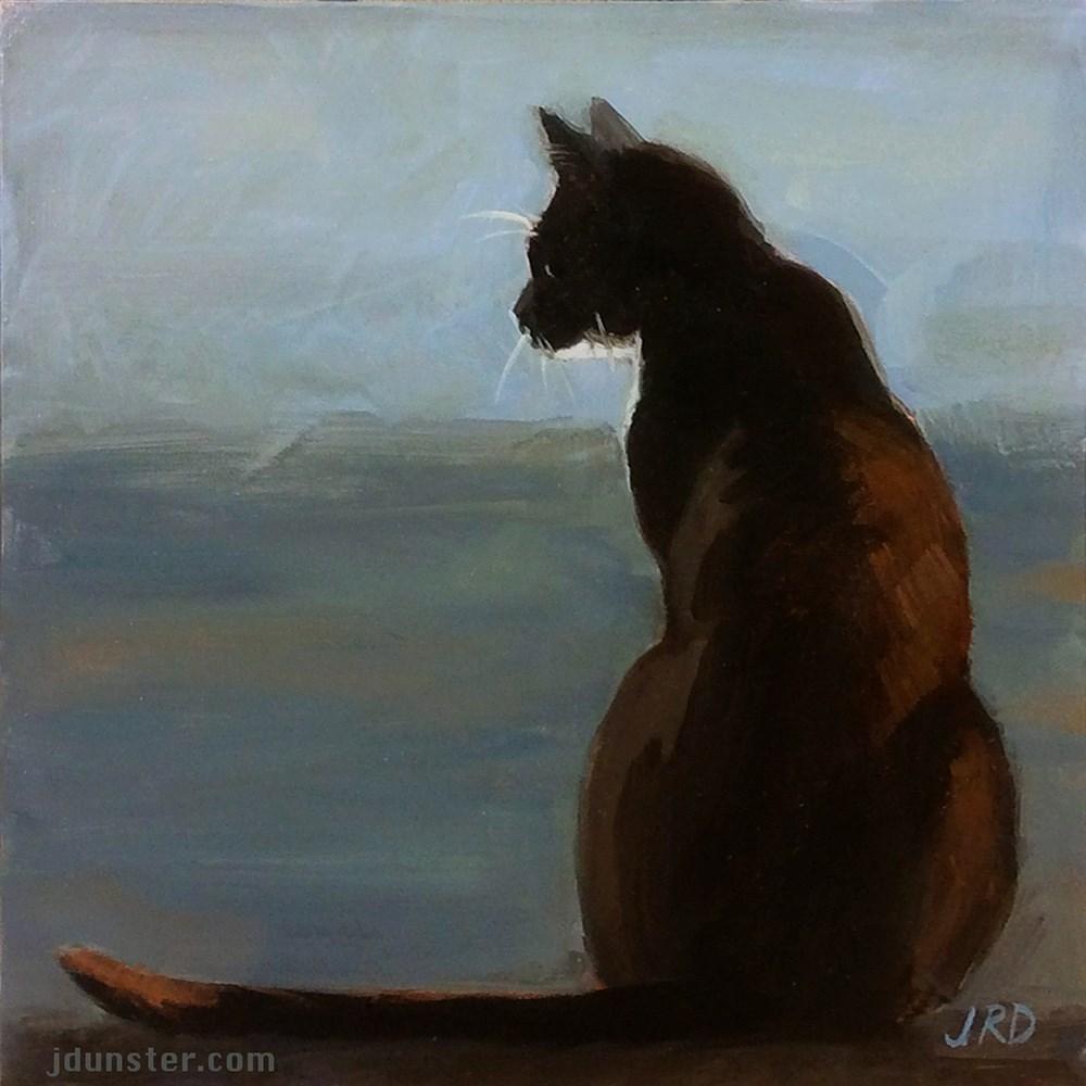 """Cat in Silhouette"" original fine art by J. Dunster"