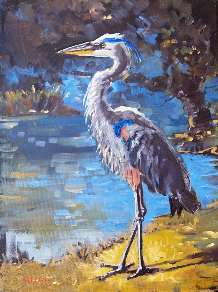"""Fine Blue Heron"" original fine art by Rick Nilson"
