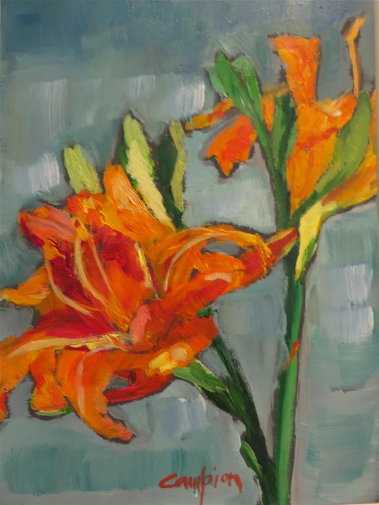 """""""653 Frilly Lily"""" original fine art by Diane Campion"""