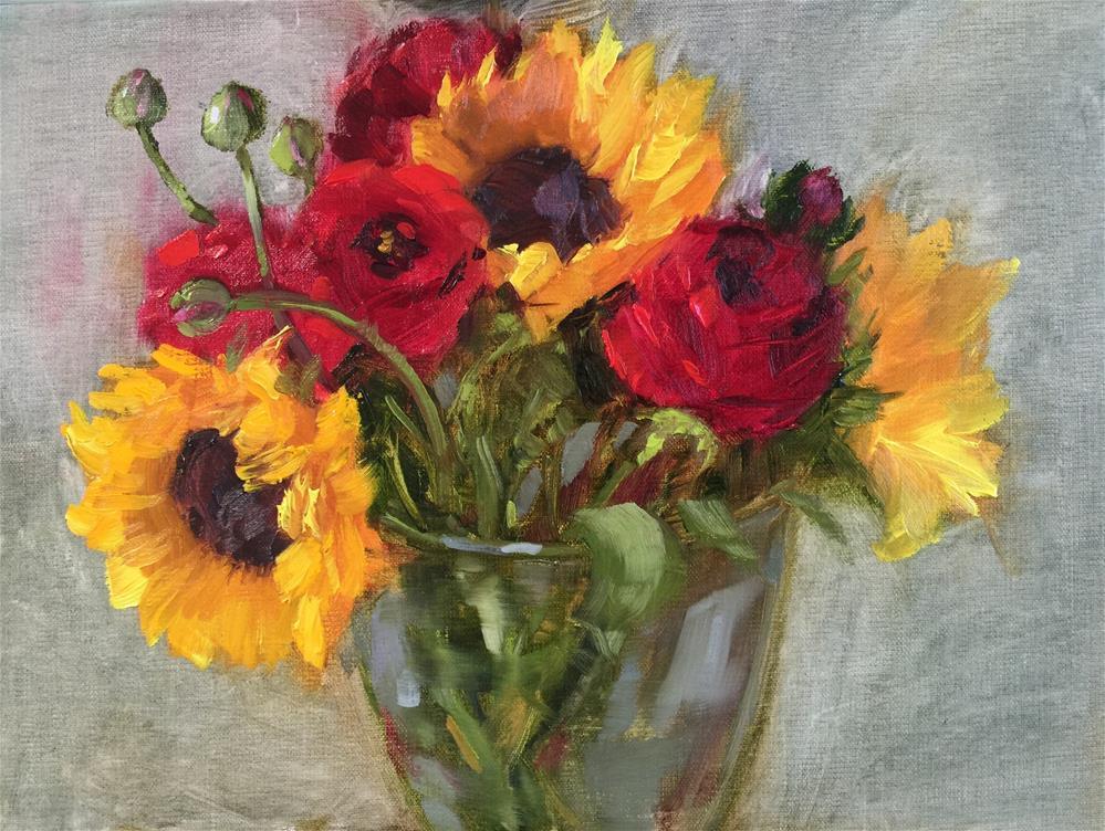 """""""Sunflowers & Ranunculus"""" original fine art by Krista Eaton"""