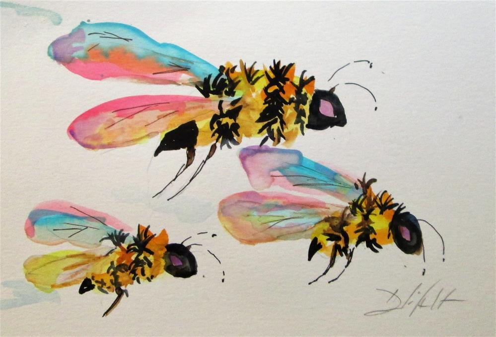 """Flying Bees"" original fine art by Delilah Smith"