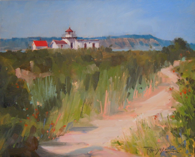 """""""Lighthouse Trail   Point no Point Lighthouse, Hansville Washington, oil painting by Robin Weiss"""" original fine art by Robin Weiss"""