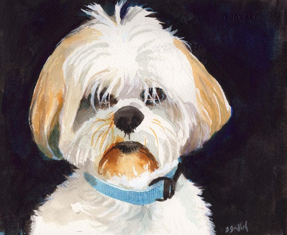 """white dog"" original fine art by Bunny Griffeth"