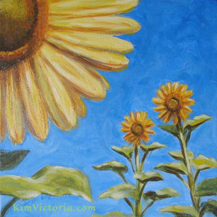 """Garden Gossip Sunflowers"" original fine art by Kim Victoria"