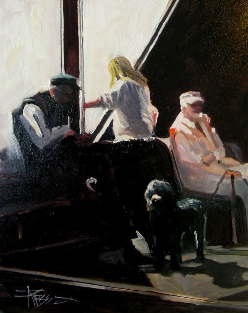 """""""Waiting for the Kingston Ferry  oil on panel"""" original fine art by Robin Weiss"""