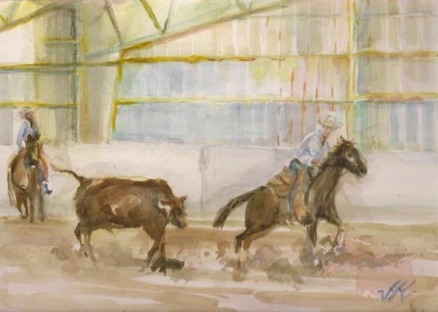 """Cattle Cutting - Painted View, CO"" original fine art by Jean Krueger"