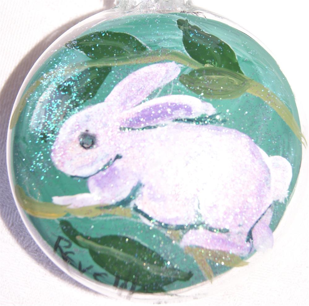 """Glass ornaments, Christmas, Holiday season, Hand painted,  Bunny"" original fine art by Reveille Kennedy"