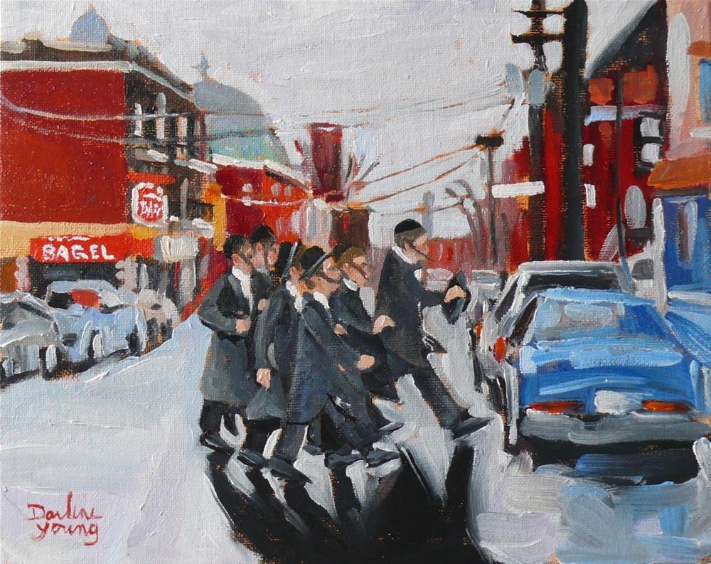 """""""912 Montreal Winter Scene, St-Viateur, 8x10, oil on board"""" original fine art by Darlene Young"""