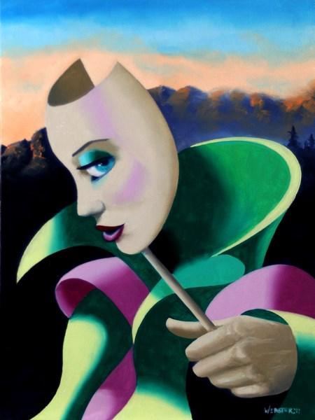 """Mark Webster - Looking for Strange - Abstract Surrealist Mask Oil Painting"" original fine art by Mark Webster"