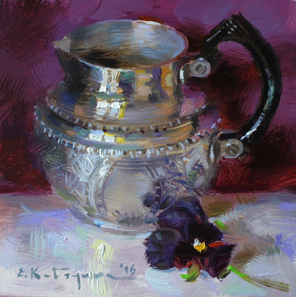 """Creamer and Purple"" original fine art by Elena Katsyura"