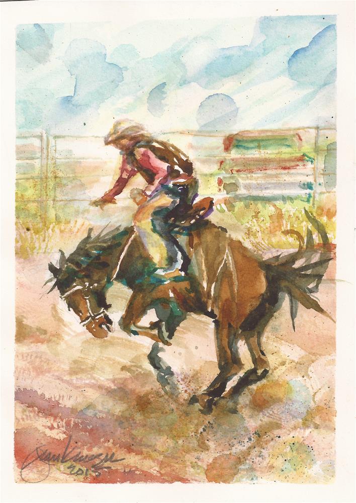 """Bronc Riding Westcliffe Rodeo"" original fine art by Jean Krueger"