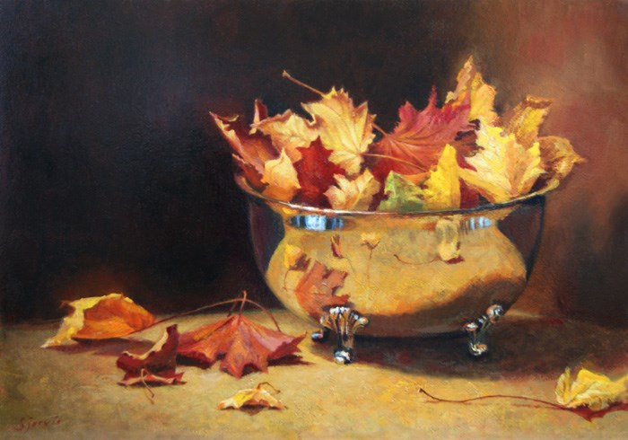 """""""Autumn in a Silver Bowl"""" original fine art by Susan N Jarvis"""