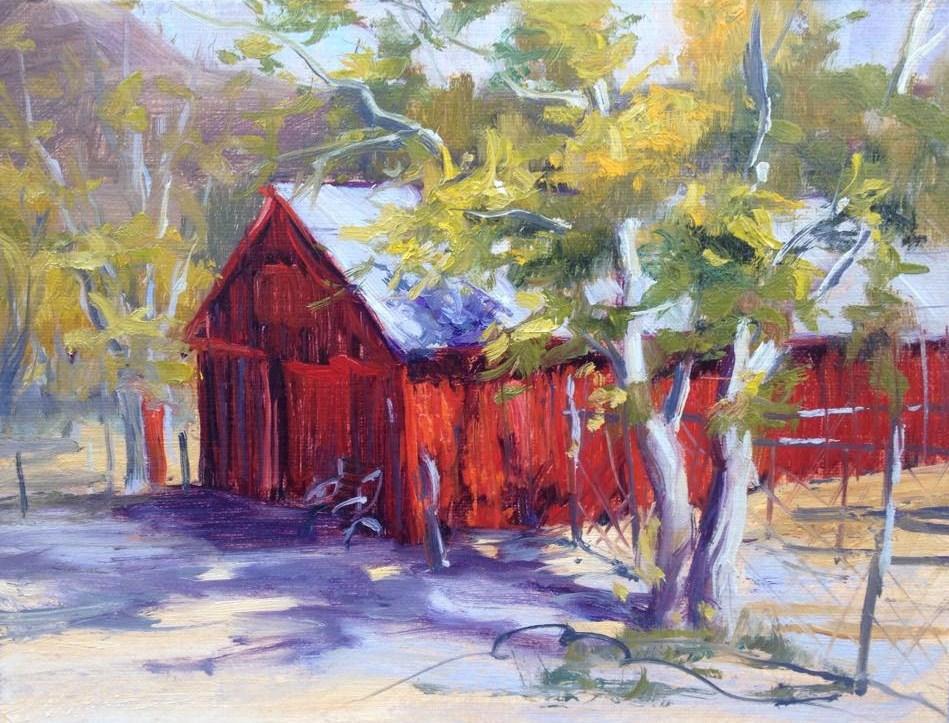 """Leona Valley, Red Barn"" original fine art by gabriele baber"