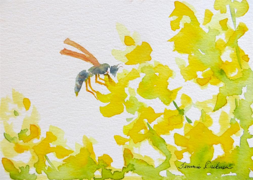"""Forsythia Wasp"" original fine art by Tammie Dickerson"