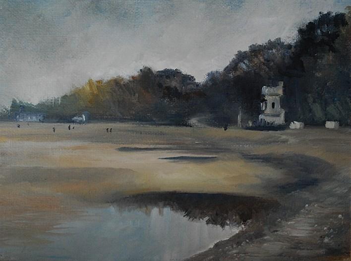 """Appley Tower From the Beach"" original fine art by J M Needham"