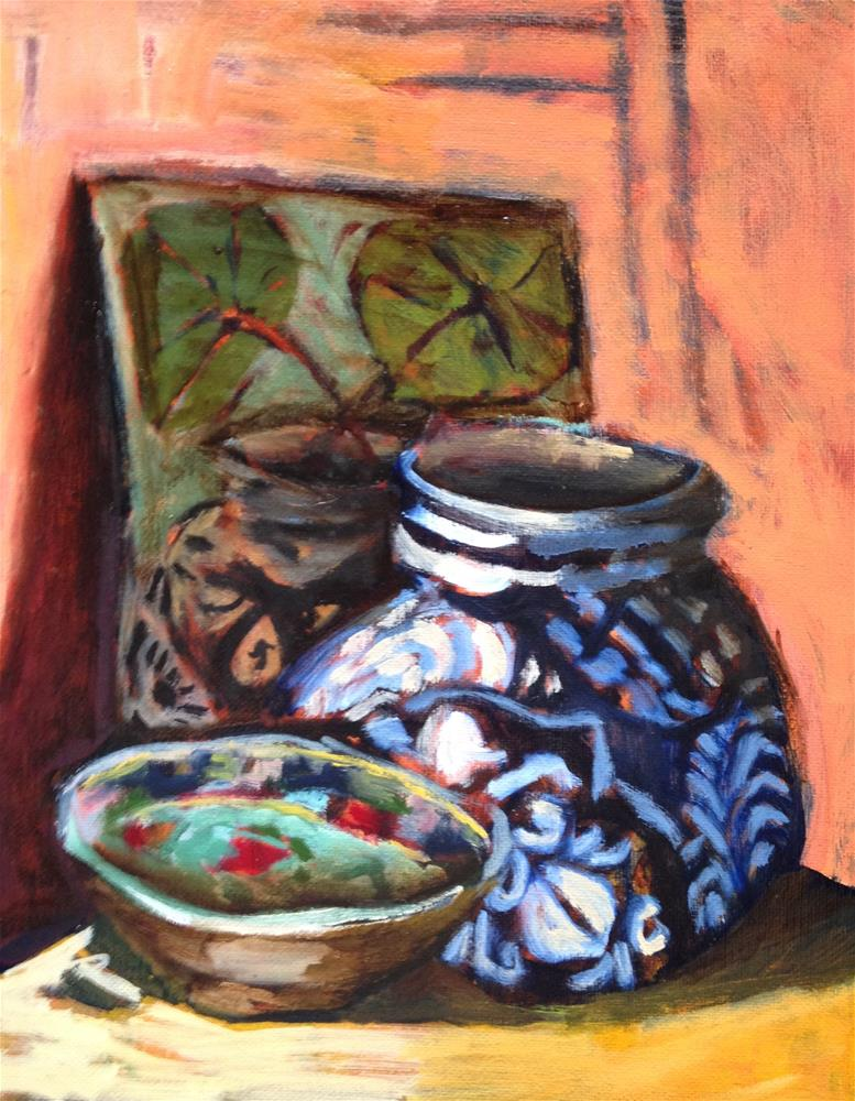 """Pot, Plate, Painting"" original fine art by Pamela Hoffmeister"