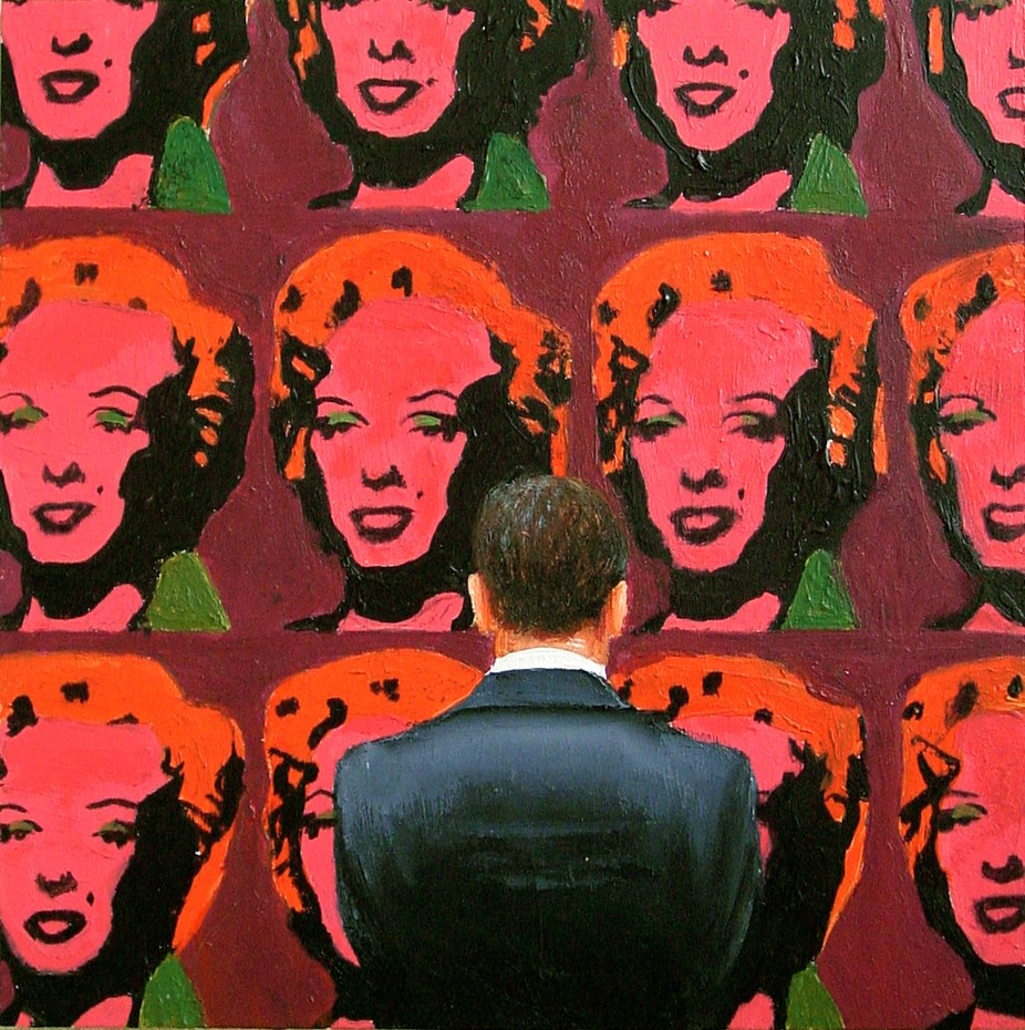 """Pink Marilyns- Painting Of Man Enjoying Painting Of Marilyn Monroe By Andy Warhol"" original fine art by Gerard Boersma"