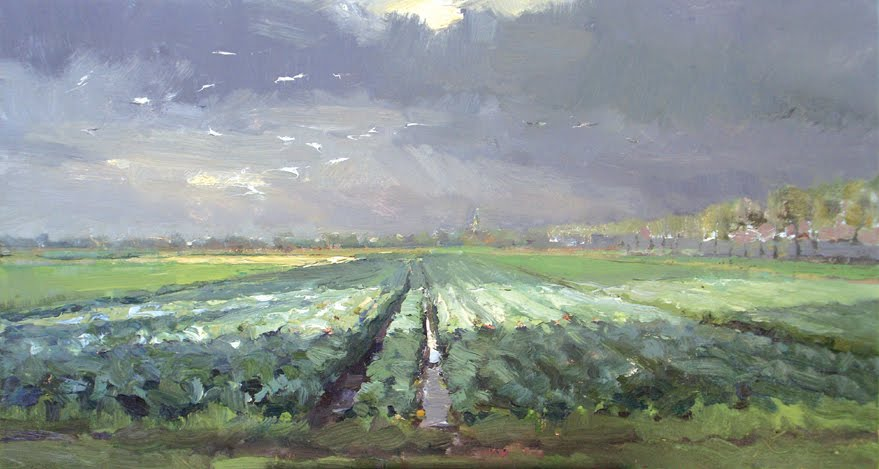 """""""Dutch landscape #5 fields of Brussels sprouts"""" original fine art by Roos Schuring"""