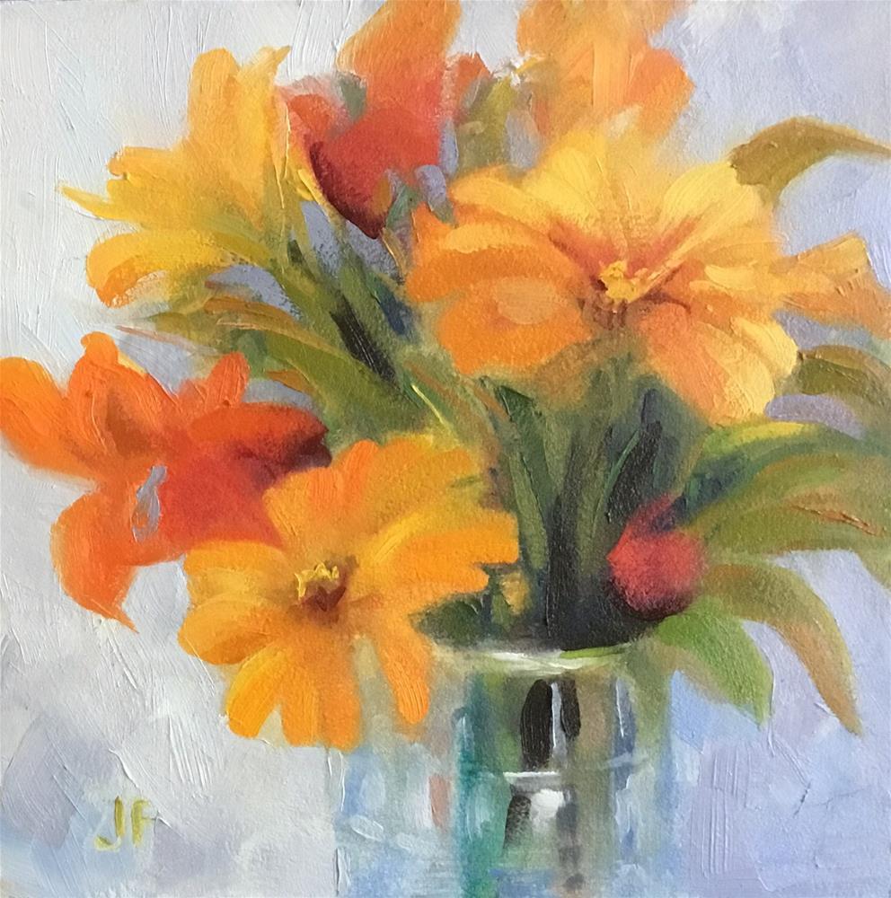 """Yellow and Orange Zinnias"" original fine art by Charlotte Fitzgerald"