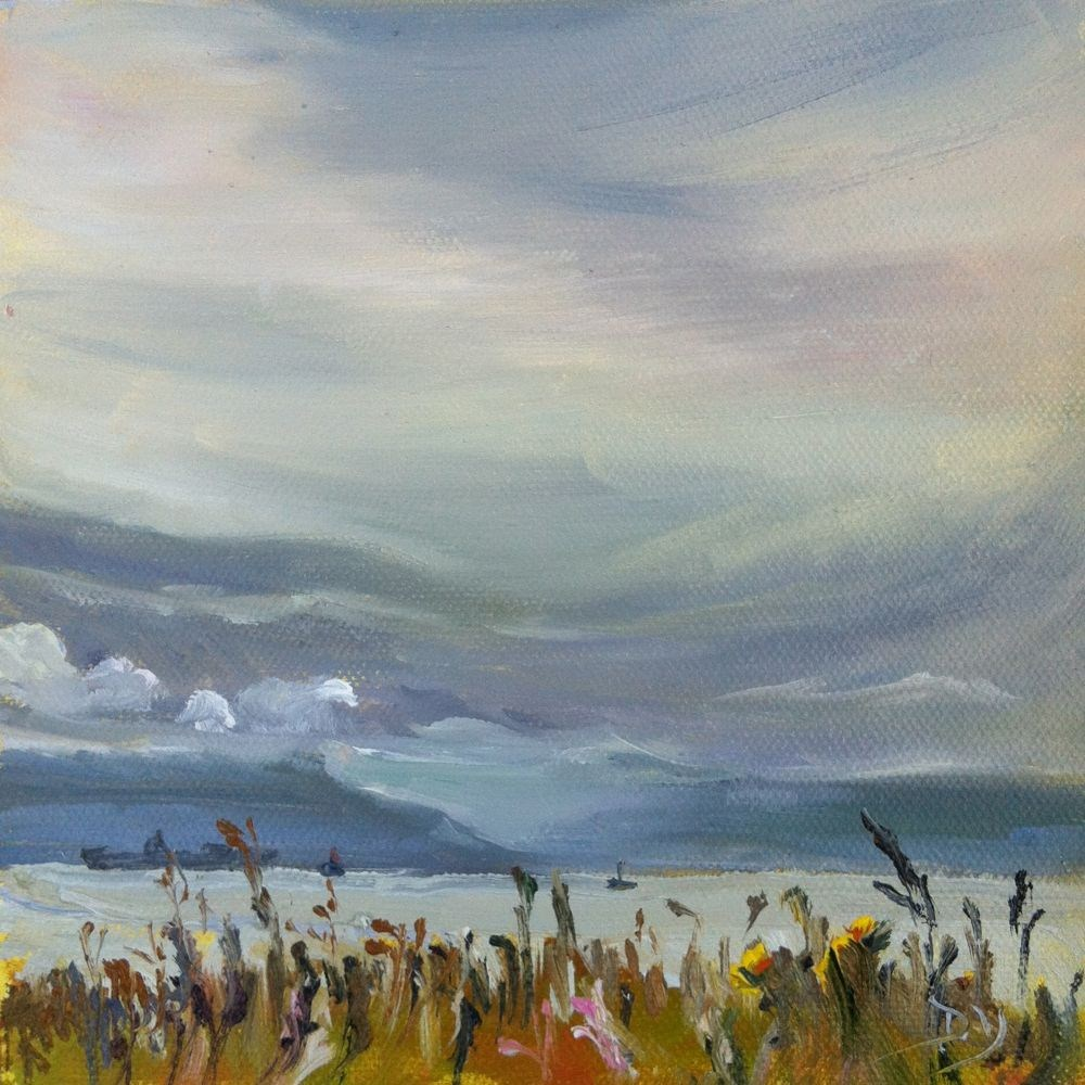 """""""Holland Point June Sky, oil on canvas panel, 6x6"""" original fine art by Darlene Young"""