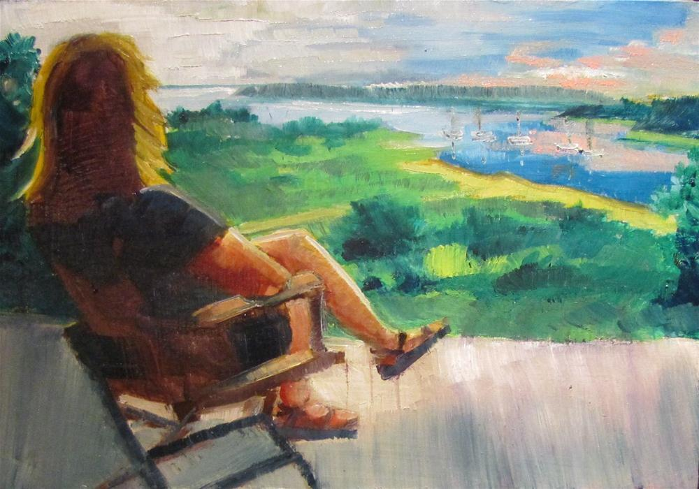 """""""View From the Porch  5x7 oil  $100"""" original fine art by Christine Holzschuh"""