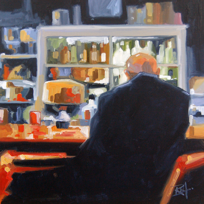 """""""No 398 One at the Counter"""" original fine art by Robin J Mitchell"""