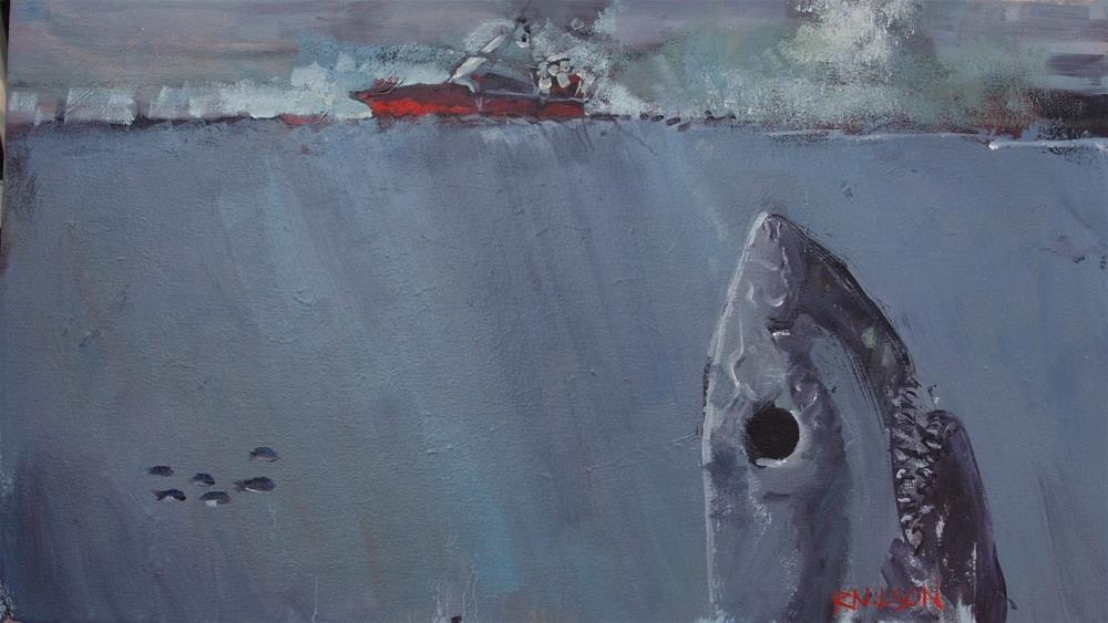 """Driftin' too far from Shore"" original fine art by Rick Nilson"