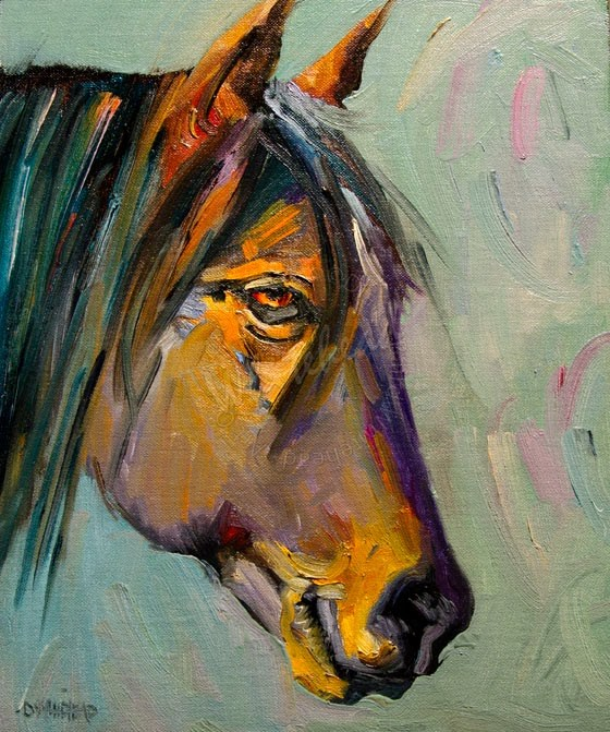 """ARTOUTWEST GREY- Horse Equine Animal art oil painting by Diane Whitehead"" original fine art by Diane Whitehead"