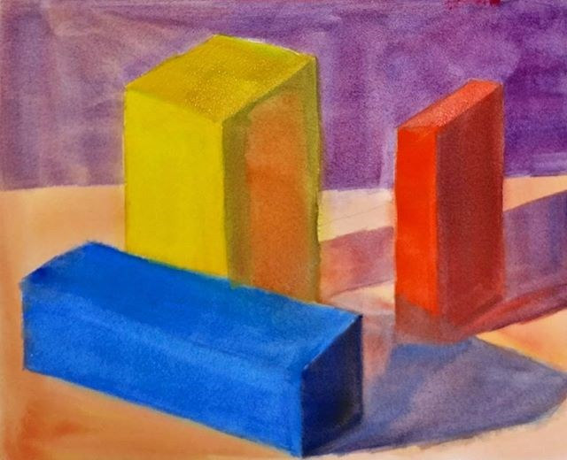 """Colored Block Studies in Watercolor"" original fine art by Maria Peagler"
